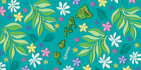 Hawaiian Fiber Reactive Beach Towels Island Chain Floral 30