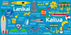 "Hawaiian Beach Towel Kailua Icons 30"" x 60"""