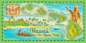 "Hawaiian Beach Towel Aloha State 30"" x 60"""