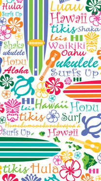 "Hawaiian Beach Towels Words of Hawaii 40"" x 70"""