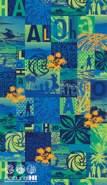 "Hawaiian Beach Towel Natural HI Kekai 40"" x 70"""