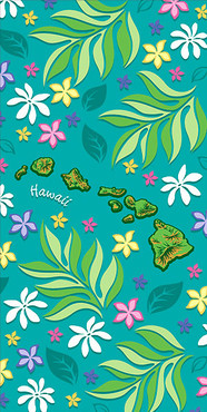 "Hawaiian Beach Towel Island Chain Floral 30"" x 60"""
