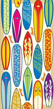 "Hawaiian Beach Towel Surfboards 30"" x 60"""