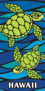 "Hawaiian Beach Towel Honu Sea Glass 30"" x 60"""