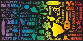 "Hawaiian Beach Towel Hawaii Icons 30"" x 60"""