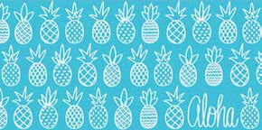 "Hawaiian Beach Towel Pineapple Sunday Aqua 30"" x 60"""