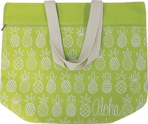 Canvas Beach Bag - Pineapple Sunday Green